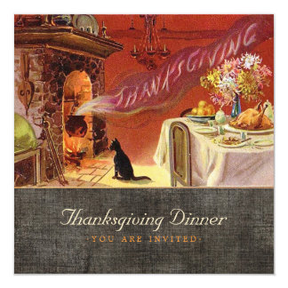 Vintage Thanksgiving Dinner Invitation