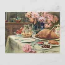 Vintage Thanksgiving Feast Holiday Postcard
