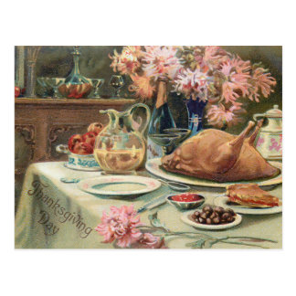 Vintage Thanksgiving Feast Postcard