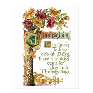 Vintage Thanksgiving Floral with Verse Postcard