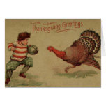 Vintage Thanksgiving Football and Turkey Greeting Card