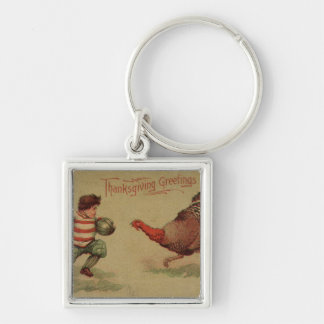 Vintage Thanksgiving Football and Turkey Keychain