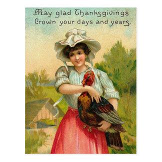 Vintage Thanksgiving Girl Greeting Postcard