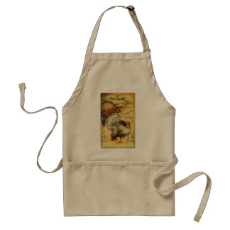 Vintage Thanksgiving Greeting with a Turkey Adult Apron