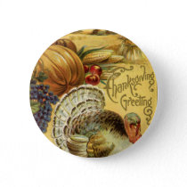 Vintage Thanksgiving Greeting with a Turkey Button