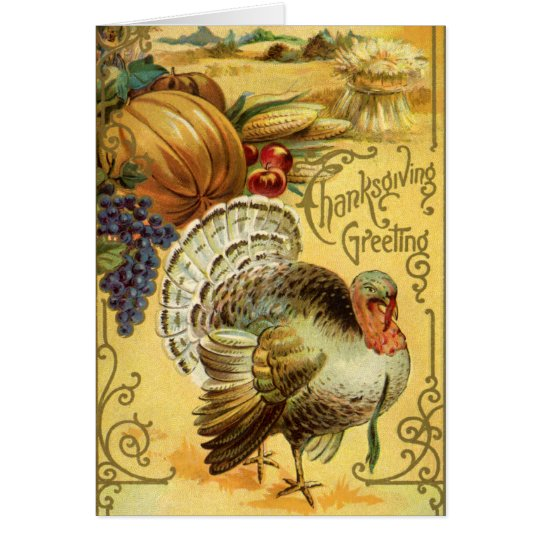 Vintage Thanksgiving Greeting with a Turkey Card