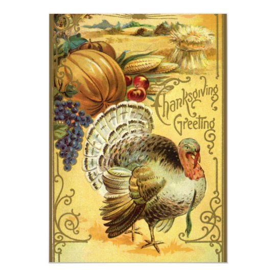 Vintage Thanksgiving Greeting with a Turkey Dinner Card