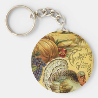 Vintage Thanksgiving Greeting with a Turkey Keychain