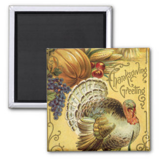 Vintage Thanksgiving Greeting with a Turkey Magnet