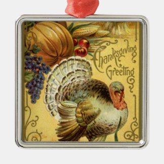Vintage Thanksgiving Greeting with a Turkey Metal Ornament