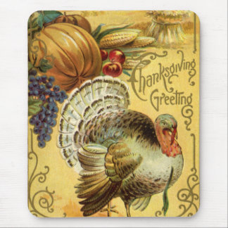 Vintage Thanksgiving Greeting with a Turkey Mouse Pad