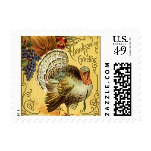 Vintage Thanksgiving Greeting with a Turkey Postage