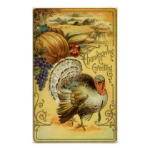 Vintage Thanksgiving Greeting with a Turkey Poster