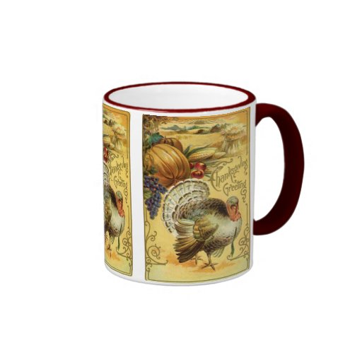 Vintage Thanksgiving Greeting with a Turkey Ringer Mug