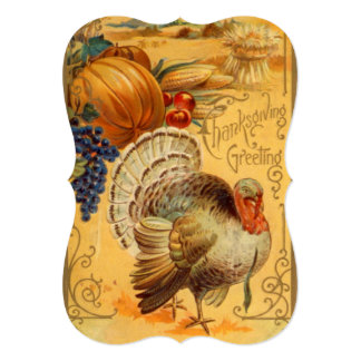 Vintage Thanksgiving Greeting With Turkey & Bounty Card