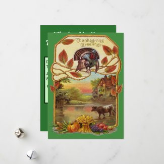 Vintage Thanksgiving Greetings, Autumn, ZSSG Holiday Card