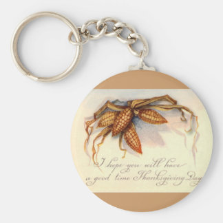 Vintage Thanksgiving Greetings & Corn Basic Round Button Keychain
