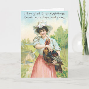 Vintage Thanksgiving Greetings Holiday Card