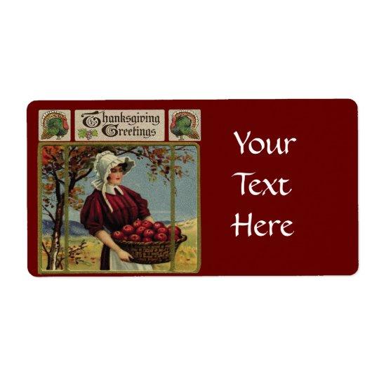 Vintage Thanksgiving Greetings Label