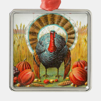 Vintage Thanksgiving Greetings Metal Ornament
