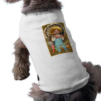 Vintage Thanksgiving Greetings Pet T Shirt