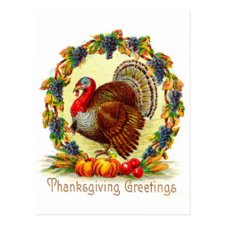 Vintage Thanksgiving Greetings Postcard at Zazzle