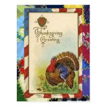 Vintage Thanksgiving Greetings & Quilt Postcard