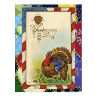 Vintage Thanksgiving Greetings & Quilt Postcard