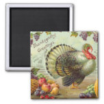 Vintage Thanksgiving Greetings Square Magnet