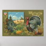 Vintage Thanksgiving Greetings with a Turkey Farm Print