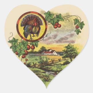 Vintage Thanksgiving Heart Sticker