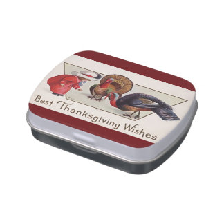 Vintage Thanksgiving Jelly Bean Candy Tin