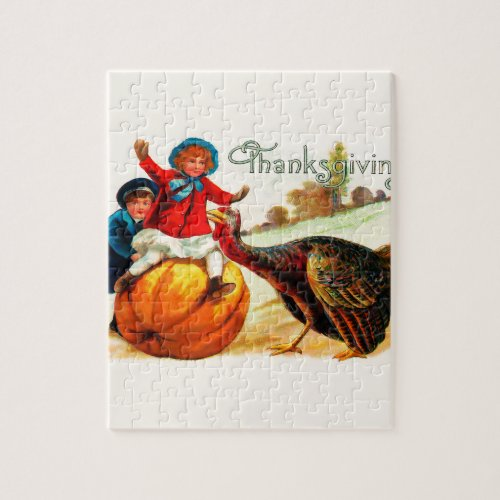 Vintage Victorian  Thanksgiving Jigsaw Puzzle - 110 Pieces