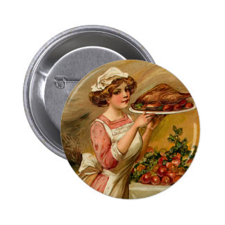 Vintage Thanksgiving Lady Button
