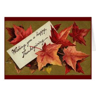 Vintage Thanksgiving Maple Leaves Card