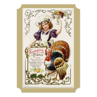 Vintage Thanksgiving Menu and Girl Invitations