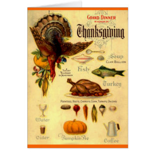 Vintage Thanksgiving Menu Card at Zazzle