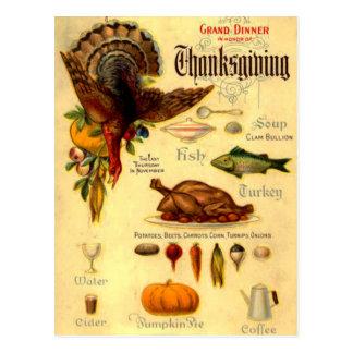 vintage thanksgiving menu post cards
