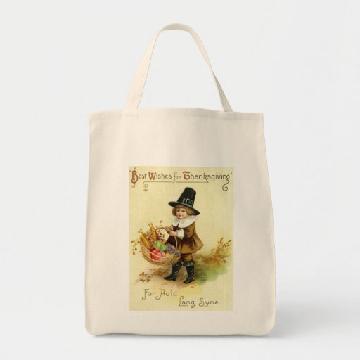 Vintage Thanksgiving Organic Tote Grocery Tote Bag