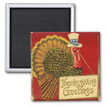Vintage Thanksgiving Patriotic Turkey Fridge Magnet