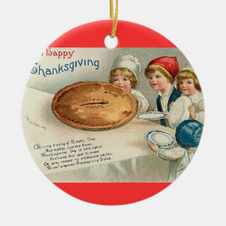 Vintage Thanksgiving Pie Ceramic Ornament