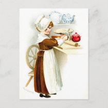 Vintage Thanksgiving - Pilgrim Baking Pie Holiday Postcard