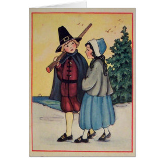 Vintage Thanksgiving Pilgrims Card