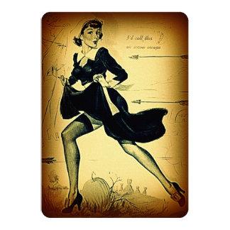 Vintage Thanksgiving Quaker Pilgrim Pin Up Girl Card
