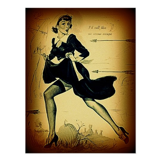 Vintage Thanksgiving Quaker Pilgrim Pin Up Girl Poster