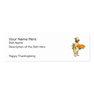 Vintage Thanksgiving Recipe Card Double-Sided Mini Business Cards (Pack Of 20)
