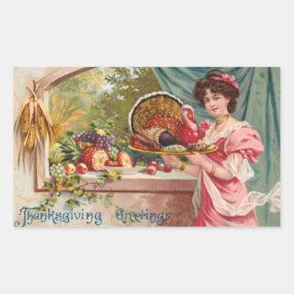 Vintage Thanksgiving Rectangular Sticker
