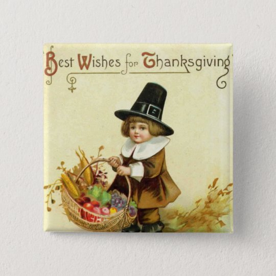 Vintage Thanksgiving Square Button