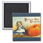Vintage Thanksgiving Square Magnet