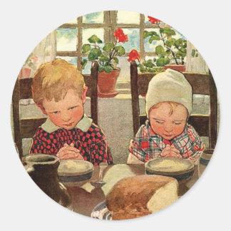 Vintage Thanksgiving, Thankful Children Classic Round Sticker